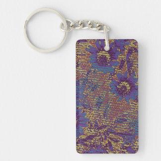 Fleurs bleues contre le motif de camouflage de porte-clé rectangulaire en acrylique double face