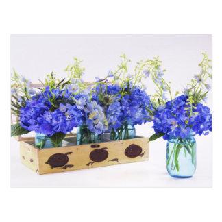Fleurs bleues d'hortensia en carte postale vintage