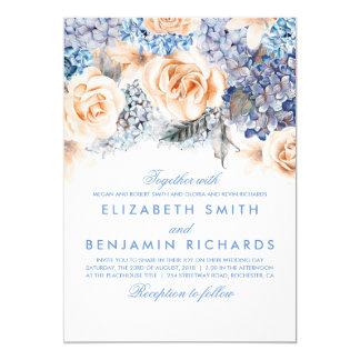 Fleurs bleues d'hortensia et de pêche - mariage carton d'invitation  12,7 cm x 17,78 cm