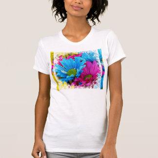 Fleurs bleues turquoises de marguerites de Gerber T-shirts