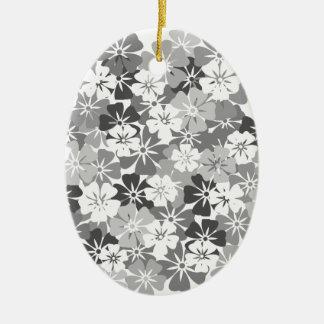 fleurs camieu gris ornement ovale en céramique