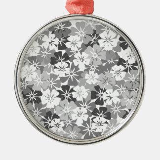fleurs camieu gris ornement rond argenté