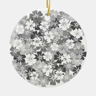fleurs camieu gris ornement rond en céramique