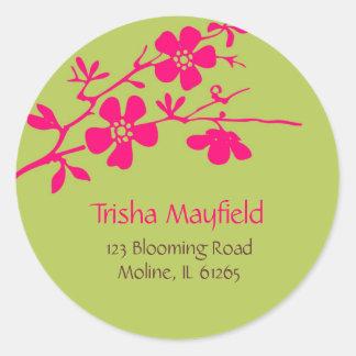 Fleurs Chartreuse et de Fusia, étiquettes de Sticker Rond