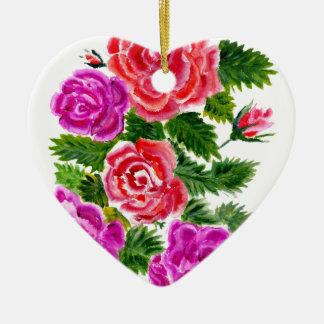Fleurs colorées 4 ornement cœur en céramique