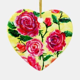 Fleurs colorées 5 ornement cœur en céramique