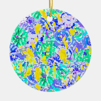 Fleurs colorées abstraites mignonnes de ressort ornement rond en céramique
