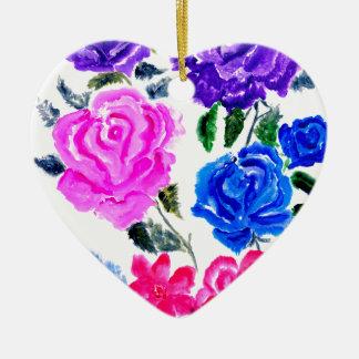Fleurs colorées Art7 Ornement Cœur En Céramique
