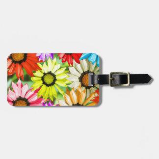 Fleurs colorées de Gerbera Étiquettes Bagages