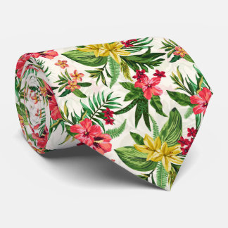 Fleurs colorées hawaïennes modernes cravate