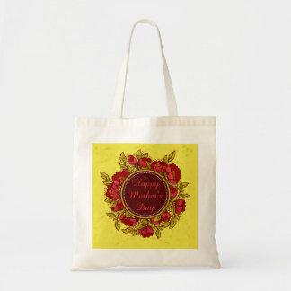 Fleurs colorées heureuses du jour de mère sacs en toile