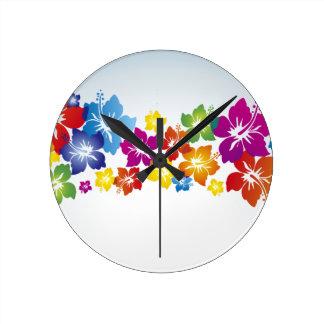Fleurs colorées horloge ronde