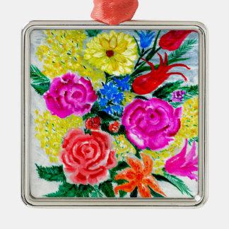 Fleurs colorées ornement carré argenté
