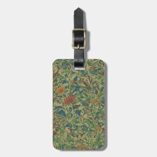 Fleurs contre le motif de camouflage de feuille étiquette pour bagages
