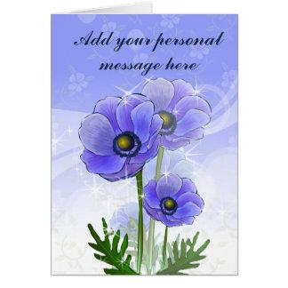 Fleurs d'anémone carte de vœux