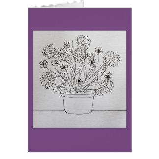 Fleurs dans la carte de livre de coloriage de