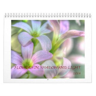 Fleurs dans les ombres et la lumière calendriers muraux