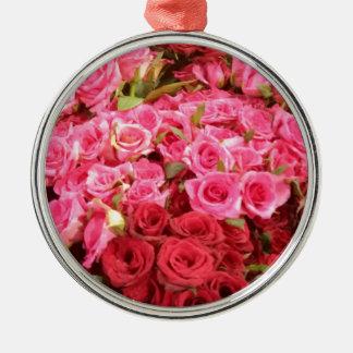 Fleurs dans les roses de Philippines, roses et Ornement Rond Argenté