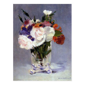 Fleurs dans un vase en cristal par Manet Cartes Postales