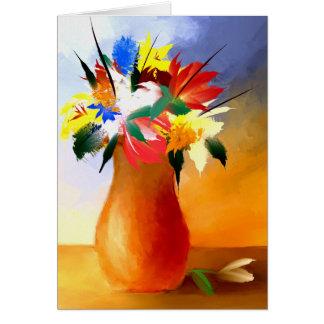 Fleurs dans une carte de voeux de vase