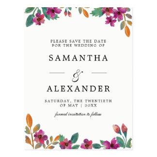 Fleurs d'aquarelle et mariage moderne de carte postale