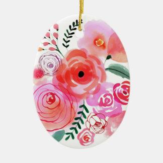 Fleurs d'aquarelle ornement ovale en céramique