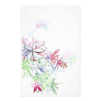 fleurs d'aquarelle papier à lettre personnalisable
