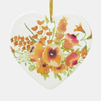 Fleurs d'aquarelles ornement cœur en céramique