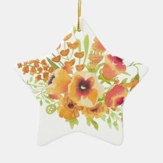 Fleurs d'aquarelles ornement étoile en céramique