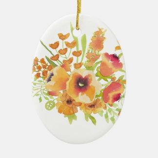 Fleurs d'aquarelles ornement ovale en céramique