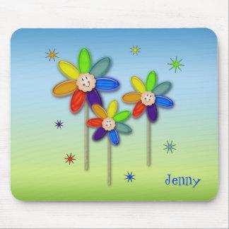 fleurs d'arc-en-ciel tapis de souris