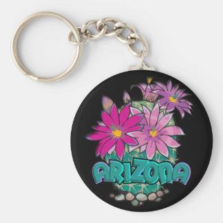 Fleurs de cactus de l'Arizona de conception d'AZ Porte-clé Rond