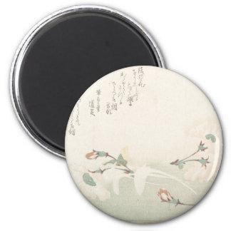 Fleurs de cerise - Japonais (période d'Edo) Magnet Rond 8 Cm