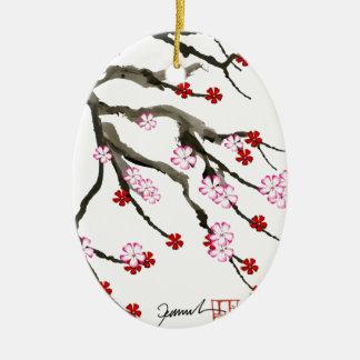 fleurs de cerisier 10 Fernandes élégant Ornement Ovale En Céramique