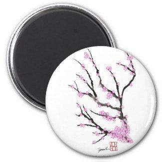 Fleurs de cerisier 21, Fernandes élégant de Sakura Magnet Rond 8 Cm
