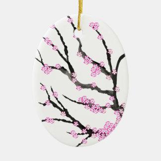 Fleurs de cerisier 21, Fernandes élégant de Sakura Ornement Ovale En Céramique
