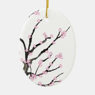 Fleurs de cerisier 23, Fernandes élégant de Sakura Ornement Ovale En Céramique
