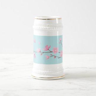 Fleurs de cerisier - bleu de ciel chope à bière