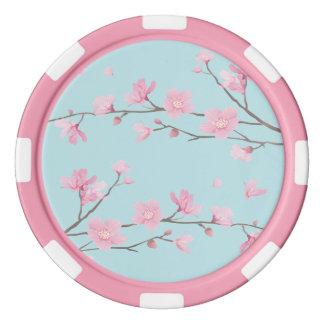 Fleurs de cerisier - bleu de ciel rouleau de jetons de poker