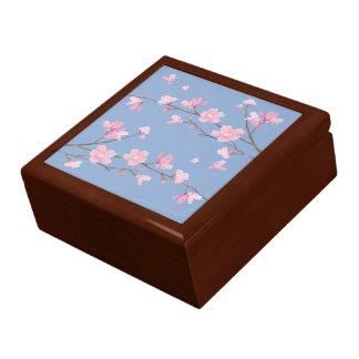 Fleurs de cerisier - bleu de sérénité grande boîte à bijoux carrée
