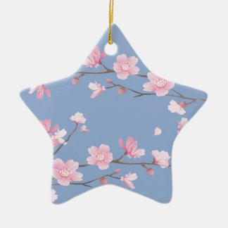 Fleurs de cerisier - bleu de sérénité ornement étoile en céramique