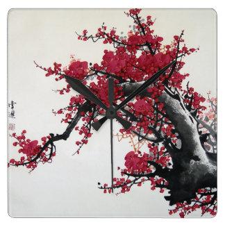Fleurs de cerisier chinoises horloge carrée