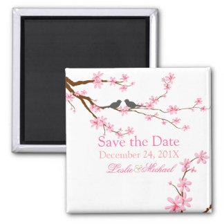 Fleurs de cerisier de PixDezines+inséparables Magnet Carré
