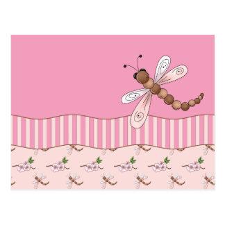 Fleurs de cerisier et carte postale de libellules