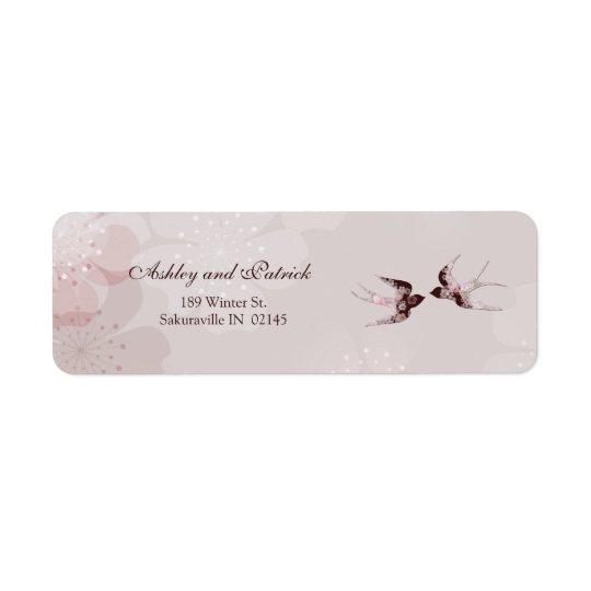 Fleurs de cerisier et étiquette de adresse floral