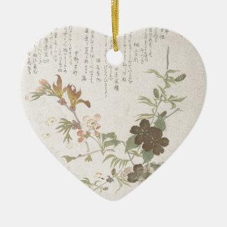 Fleurs de cerisier et fleurs de Yamabuki Ornement Cœur En Céramique