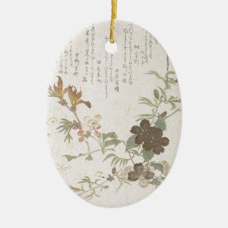 Fleurs de cerisier et fleurs de Yamabuki Ornement Ovale En Céramique