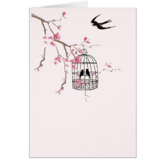 Fleurs de cerisier et hirondelle cartes de vœux