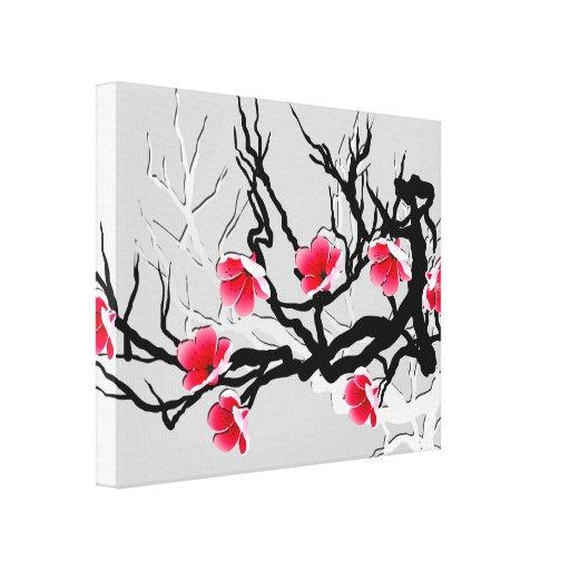 fleurs de cerisier florales impression sur toile zazzle. Black Bedroom Furniture Sets. Home Design Ideas