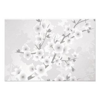 Fleurs de cerisier grises chaudes impression photo